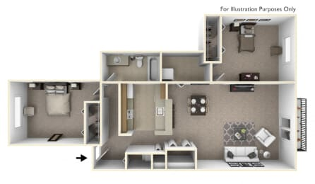 2-Bed/1-Bath, Azalea Floor Plan at Portsmouth Apartments, Novi, MI, 48377