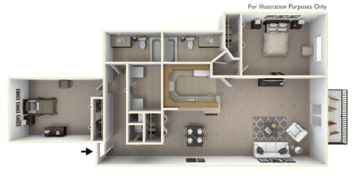 2-Bed/2-Bath, Bouvardia Floor Plan at Portsmouth Apartments, Novi, 48377