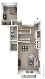 1-Bed/1-Bath, Muscari Floor Plan at Portsmouth Apartments, Novi, 48377
