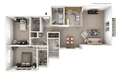 2-Bed/1-Bath, The Christian Floor Plan at Prairie Lakes Apartments, Illinois
