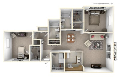 2-Bed/2-Bath, The Frances Floor Plan at Prairie Lakes Apartments, Peoria, IL, 61615