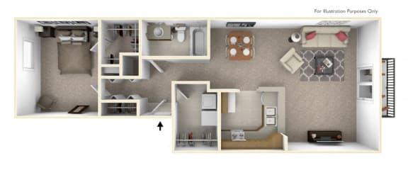 1-Bed/1-Bath, The Sarah Floor Plan at Prairie Lakes Apartments, Peoria
