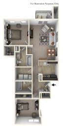 2-Bed/2-Bath, Michigan Floor Plan at River Hills Apartments, Fond du Lac, WI, 54937