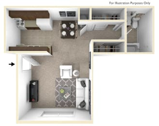 Studio, Lunaria Floor Plan at Rivers Edge Apartments, Waterford, MI
