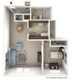 1-Bed/1-Bath, Lilac Floor Plan at Stone Ridge, Michigan