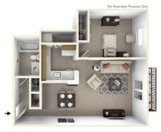 1-Bed/1-Bath, Allium Floor Plan at The Harbours Apartments, Clinton Twp