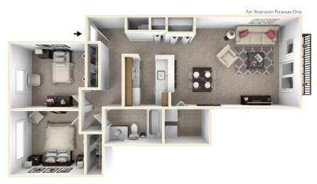 2-Bed/1-Bath, Lily Floor Plan at The Harbours Apartments, Clinton Twp, MI, 48038