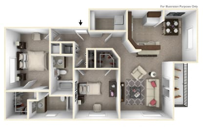 2-Bed/2-Bath, Tithonia Floor Plan at The Harbours Apartments, Clinton Twp, MI