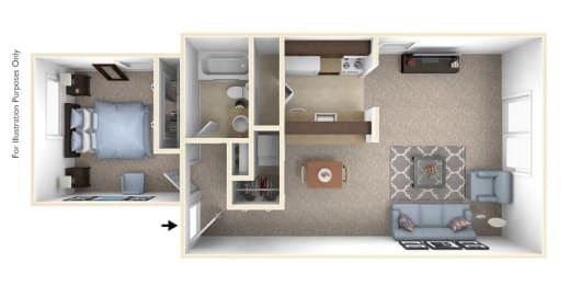 1-Bed/1-Bath, Verbena Floor Plan at The Landings, Michigan