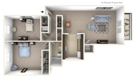 2-bed/1-bath, Hydrangea Floor Plan at The Landings, Michigan, 48185