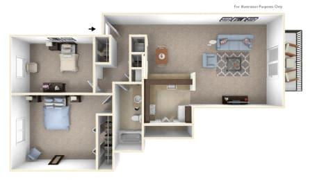 2-Bed/1-Bath, Violet Floor Plan at The Landings, Westland, MI, 48185