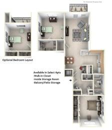 2-Bed/1-Bath, Dawn Floor Plan at Towne Lakes Apartments, Grand Chute, 54913