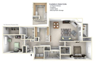 2-Bed/2-Bath, Erin Floor Plan at Towne Lakes Apartments, Wisconsin
