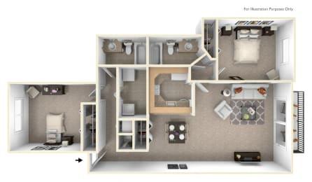 2-Bed/2-Bath, Bouvardia Floor Plan at Westlake Apartments, Belleville, MI, 48111