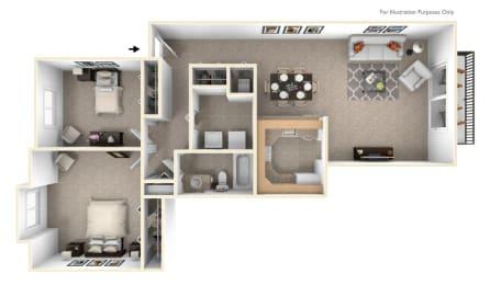 2-Bed/1-Bath, Petunia Floor Plan at Westlake Apartments, Michigan, 48111