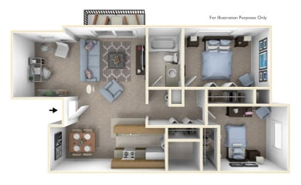 2-Bed/1-Bath, Daffodil Deluxe Floor Plan at Windemere Apartments, Michigan