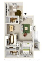 The Maple Floor Plan at Willow Ridge Apartments, North Carolina, 28210
