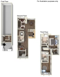 2 Bed - 2.5 Bath Floor Plan at Ontario Town Square Townhomes Ontario, California