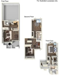 2 Bed - 2 Bath Floor Plan at Ontario Town Square Townhomes Ontario, CA