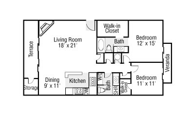 Two Bedrooms Two Bathrooms