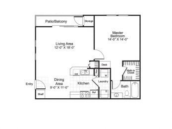 Andorra - 1 Bedroom 1 Bath Floor Plan Layout - 759 Square Feet