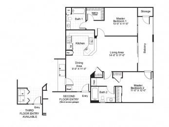 Cordoba - 2 Bedroom 2 Bath Floor Plan Layout - 1006 Square Feet