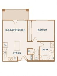 Aspen - 1 Bedroom 1 Bath Floor Plan Layout - 607 Square Feet