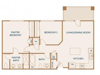 Birch - 2 Bedroom 2 Bath Floor Plan Layout - 911 Square Feet