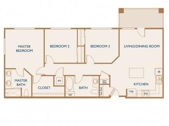 Cedar - 3 Bedroom 2 Bath Floor Plan Layout - 1117 Square Feet