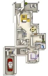 Dillon Classic – 1 Bedroom 1 Bath Floor Plan Layout – 1123 Square Feet