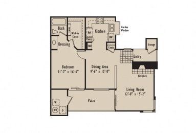 A - 1 Bedroom 1 Bath Floor Plan Layout - 780 Square Feet