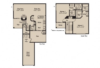D1 - 2 Bedroom 2.5 Bath Floor Plan Layout - 1211 Square Feet