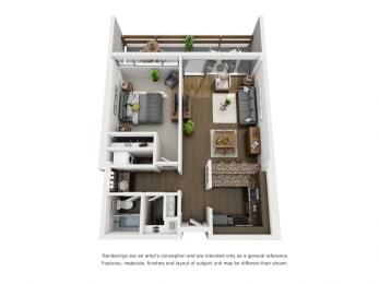 B  – 1 Bedroom 1 Bath Floor Plan Layout – 716 Square Feet