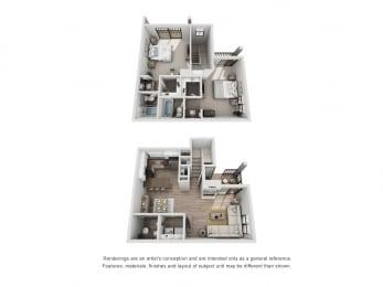 B and C - 2 Bedroom 2.5 Bath Floor Plan Layout - 1180 Square Feet