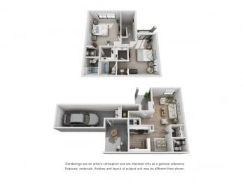 D - 2 Bedroom 2.5 Bath Floor Plan Layout - 1200 Square Feet