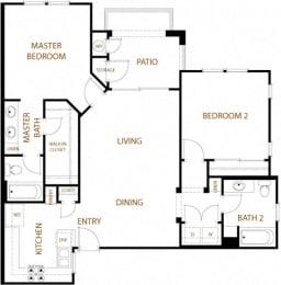 Santa Cruz - 2 Bedroom 2 Bath Floor Plan Layout - 1075 Square Feet
