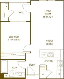 Residence 1 - 1 Bedroom 1 Bath Floor Plan Layout - 652 Square Feet