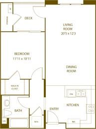 Residence 2 - 1 Bedroom 1 Bath Floor Plan Layout - 711 Square Feet