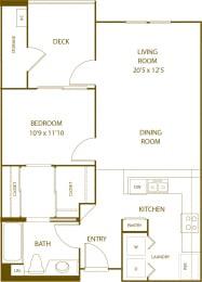 Residence 3 - 1 Bedroom 1 Bath Floor Plan Layout - 750 Square Feet