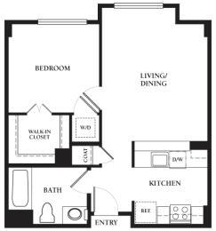 Haight - 1 Bedroom 1 Bath Floor Plan Layout - 650 Square Feet