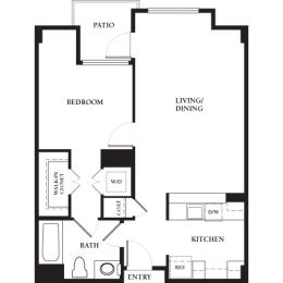 Mission - 1 Bedroom 1 Bath Floor Plan Layout - 750 Square Feet