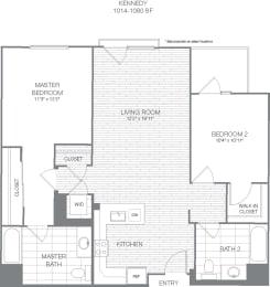 Kennedy - 2 Bedroom 2 Bath Floor Plan Layout - 1047 Square Feet