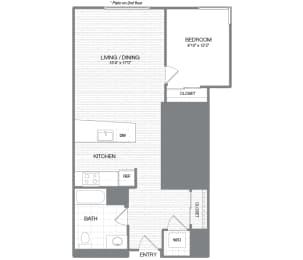 Madison - 1 Bedroom 1 Bath Floor Plan Layout - 772 Square Feet