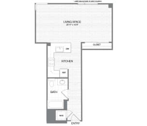 Hayes - 0 Bedroom 1 Bath Floor Plan Layout - 619 Square Feet