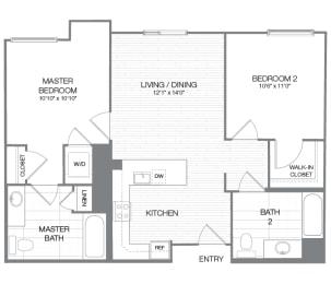 Pierce - 2 Bedroom 2 Bath Floor Plan Layout - 865 Square Feet