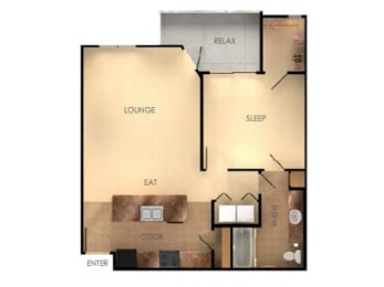 One Bedroom One Bathroom C Floorplan at Ascent at Papago Park, Phoenix, 85008