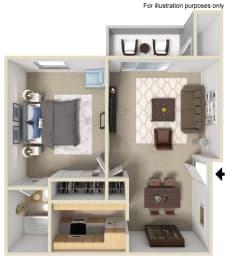 1 Bed 1 Bath Floor Plan at Morning View Terrace Apartment Homes, Escondido, CA