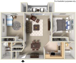 2 Bed 2 Bath Floor Plan at Morning View Terrace Apartment Homes, Escondido, 92026