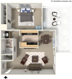One Bedroom A3 Floor Plan at Stoneridge Apartment Homes CA 91786