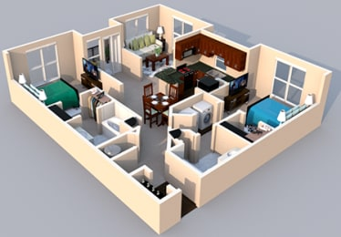3-D Floor Plan 2 bedroom 2 bath at Centerville Manor Apartments, Virginia, 23464